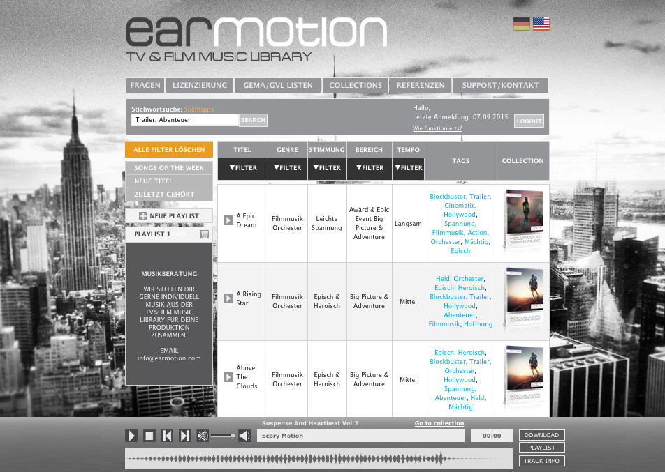 Earmotion Tv & Film Music Library